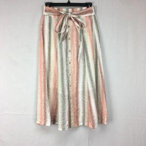 Tregene Linen Sun Striped Button Midi Skirt